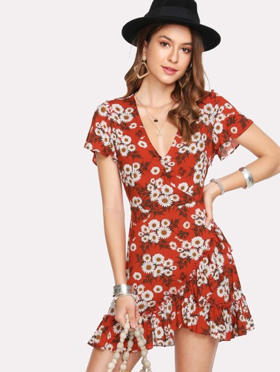 Daisy Print Asymmetric Ruffle Hem Wrap Dress