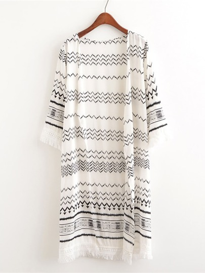 Chevron Print Fringe Trim Cover Up