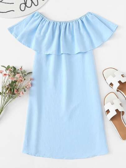 Off Shoulder Ruffle Trim Dress