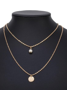 Round & Faux Pearl Layered Chain Necklace
