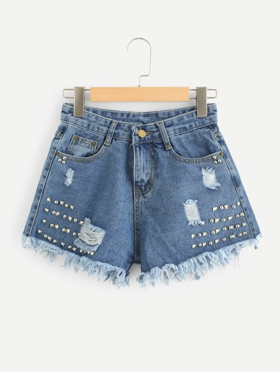 Rivet Raw Hem Denim Shorts