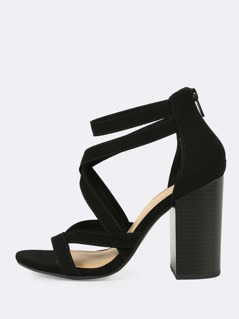 Criss Cross Strappy Open Toe Chunky Heel BLACK