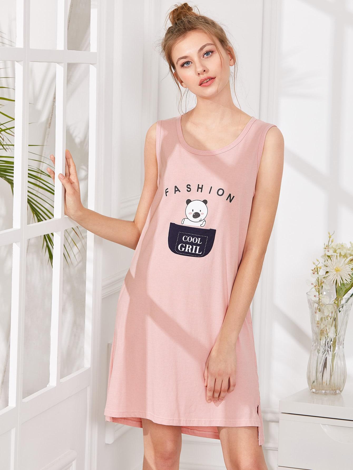 Bear Print Split Side Nightdress
