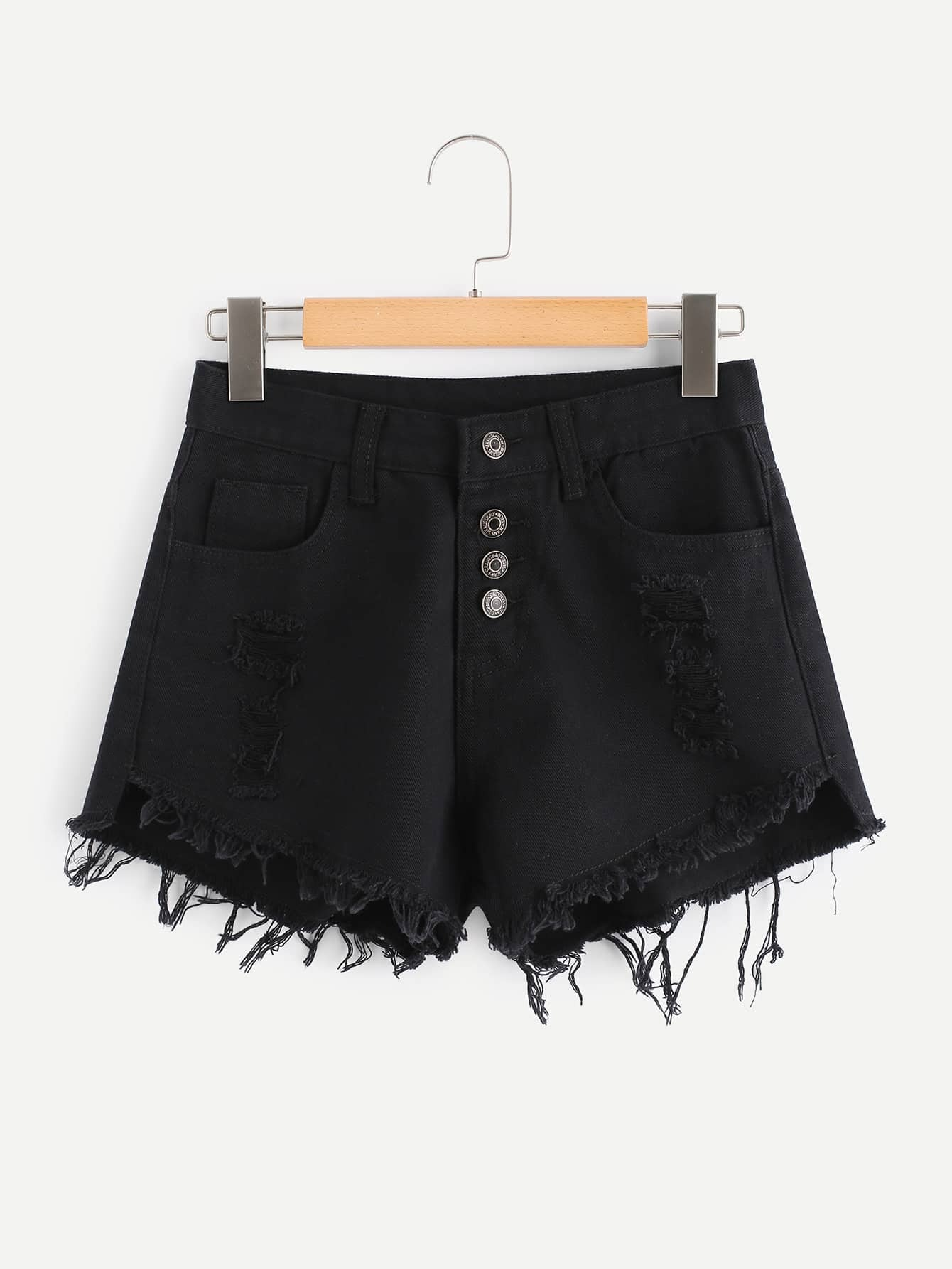 Raw Hem Ripped Button Front Denim Shorts chic mid waist button design ripped denim shorts for women