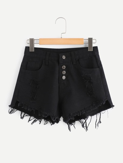 Raw Hem Ripped Button Front Denim Shorts