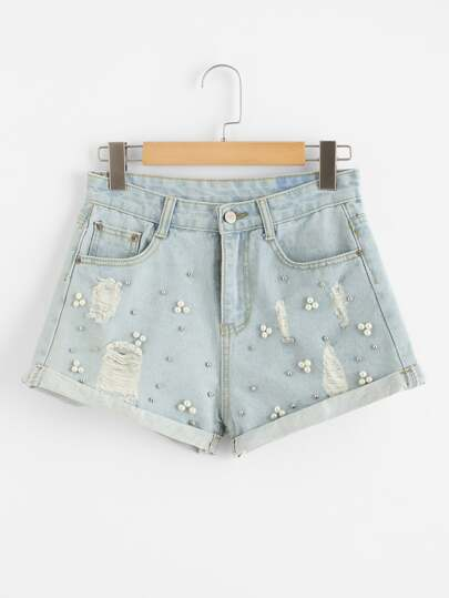 Faux Pearl Beading Ripped Denim Shorts