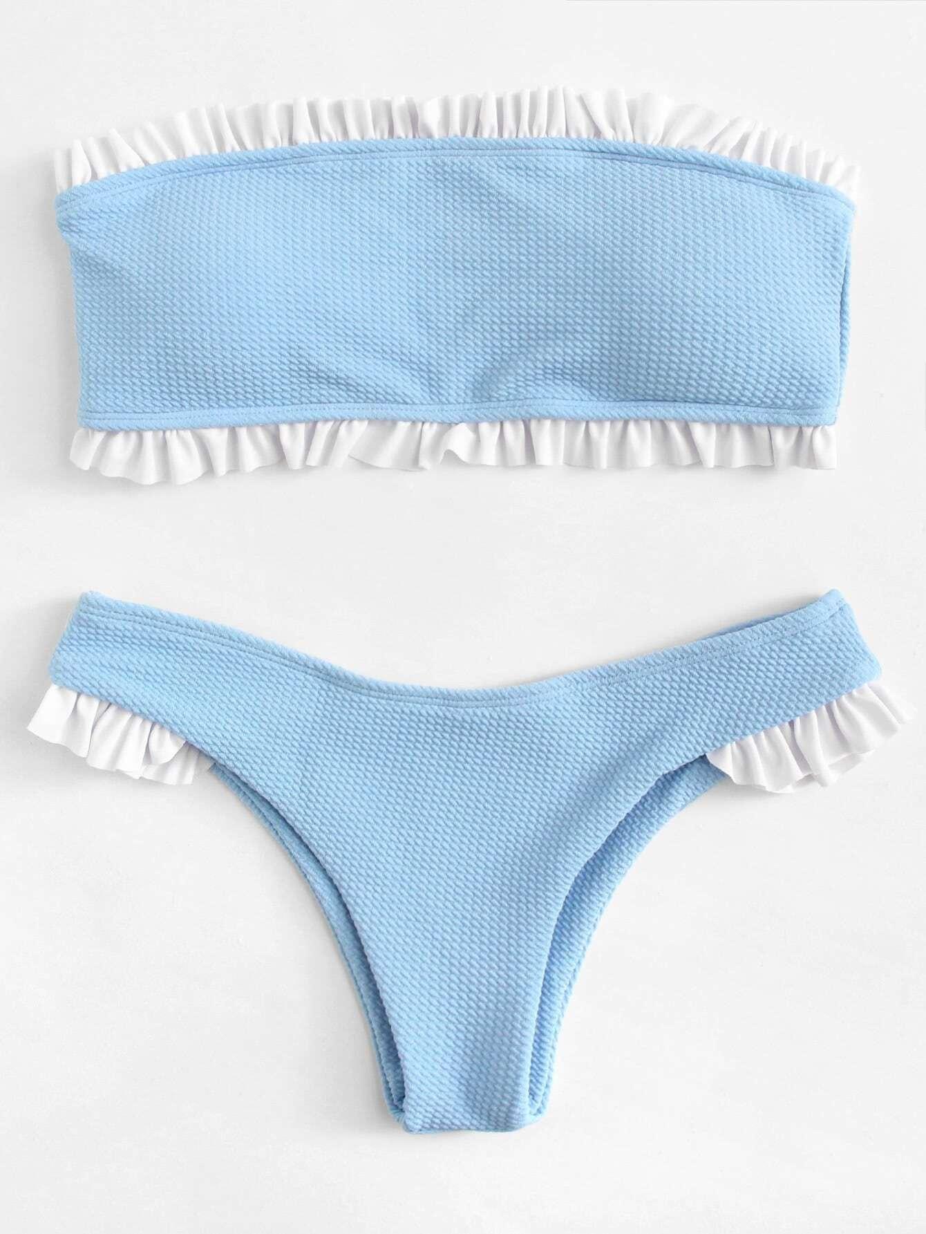 Frill Trim Bandeau Bikini Set frill trim triangle bikini set