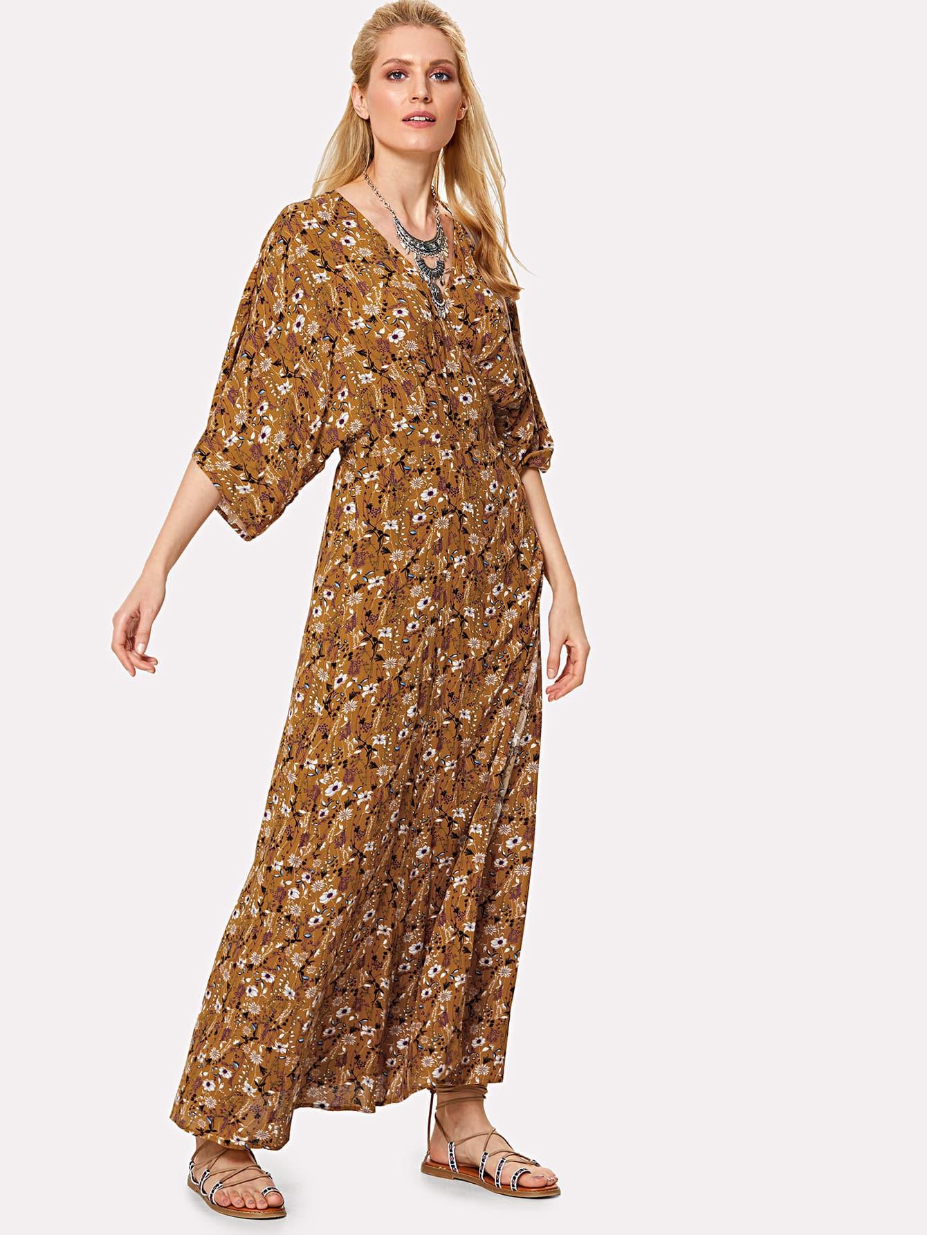 Knot Wrap Back Floral Dolman Dress plunging neck knot back floral dress