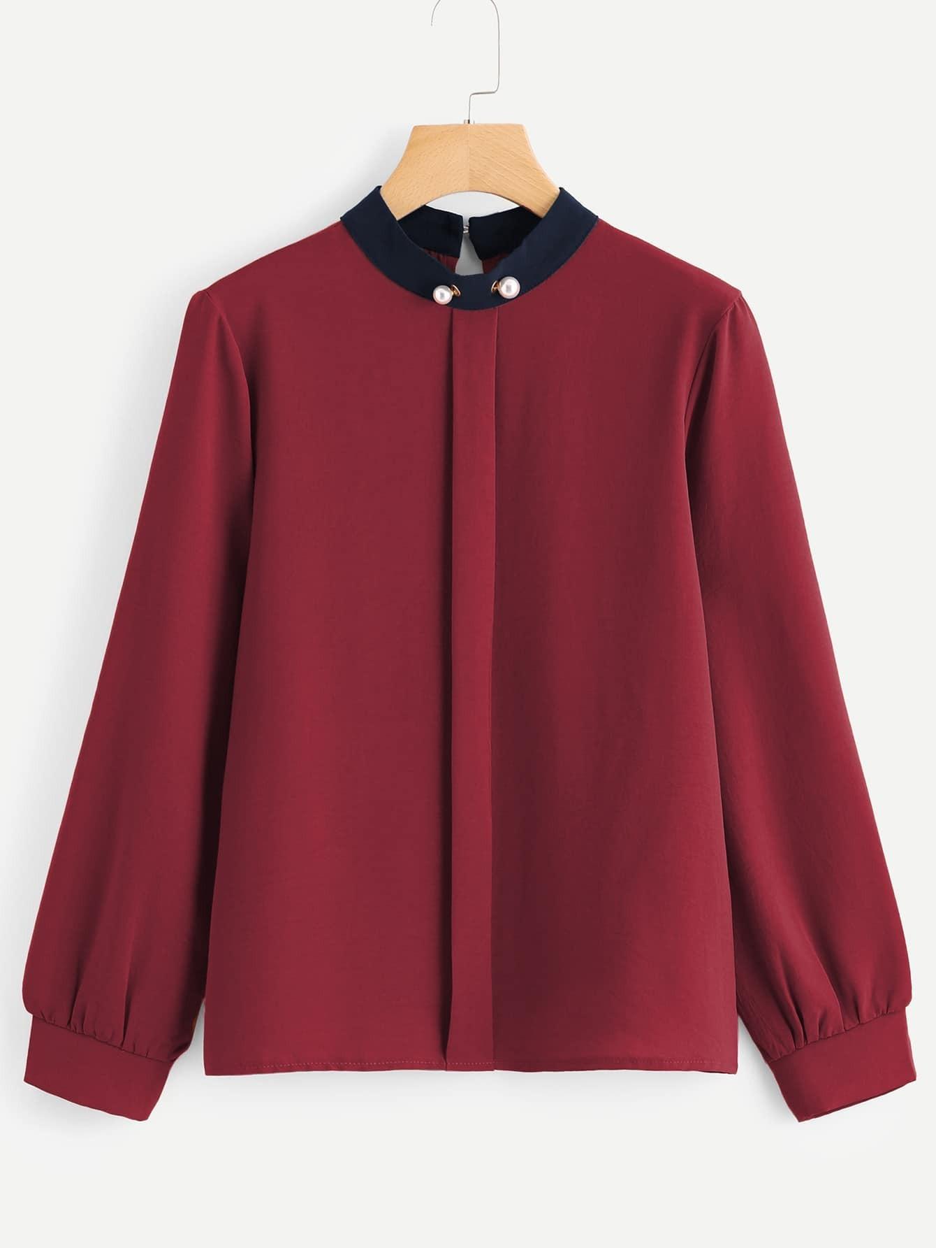 Купить Стильная блузка с контрастным воротником, null, SheIn