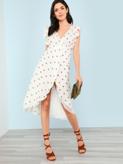 Polka Dot Flowy Wrap Dress TAUPE WHITE