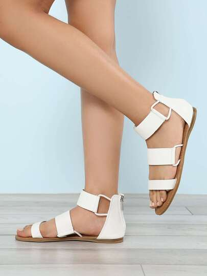 Three Wide Strap Zip Back Flat Sandal WHITE