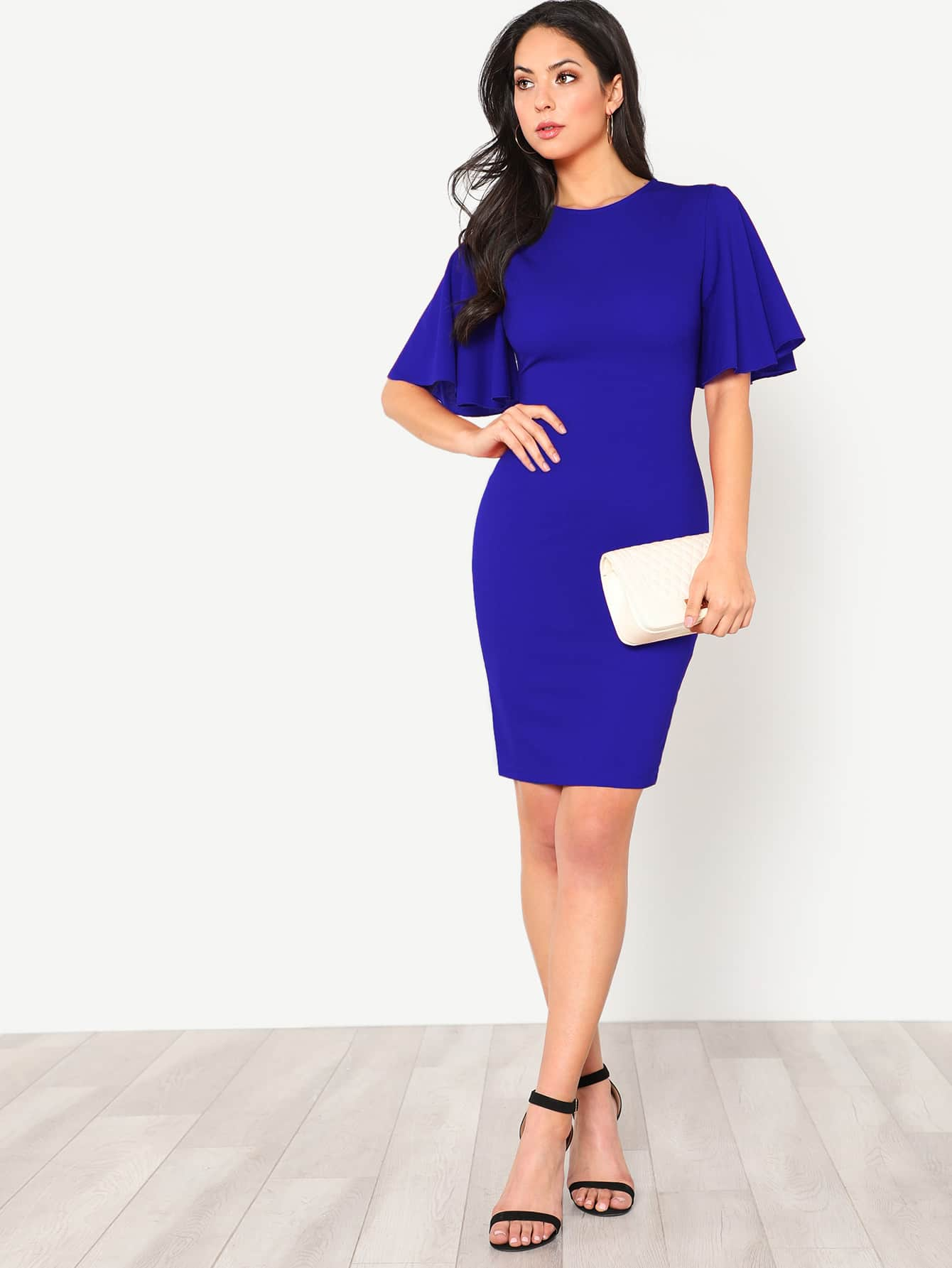 Flutter Sleeve Zip Back Pencil Dress zip back fit and flared plaid dress