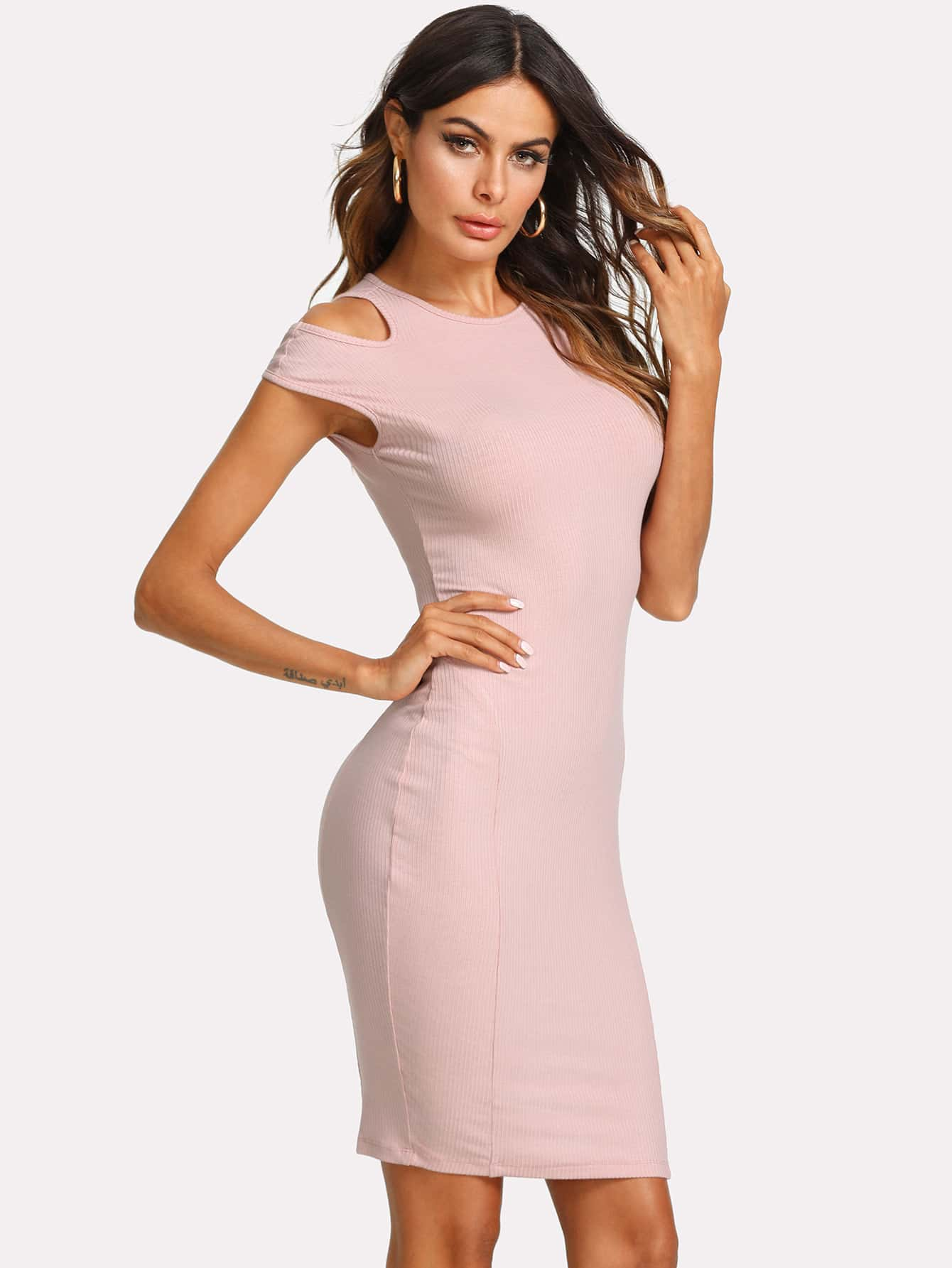 Cut Out Detail Shoulder Ribbed Dress cut out detail fit and flared sleeveless dress