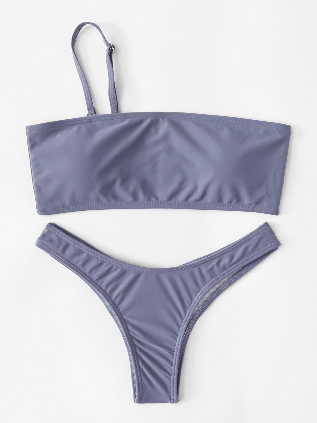 Фото One Shoulder High Leg Bikini Set checker knot bikini set
