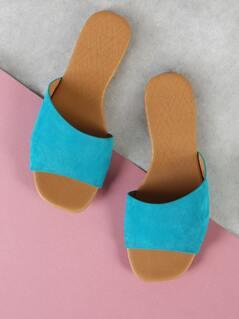 Faux Suede Single Strap Slide Sandal TEAL