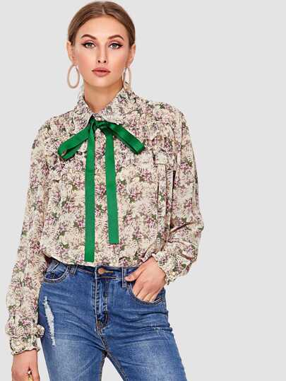 Tie Neck Botanical Print Shirt