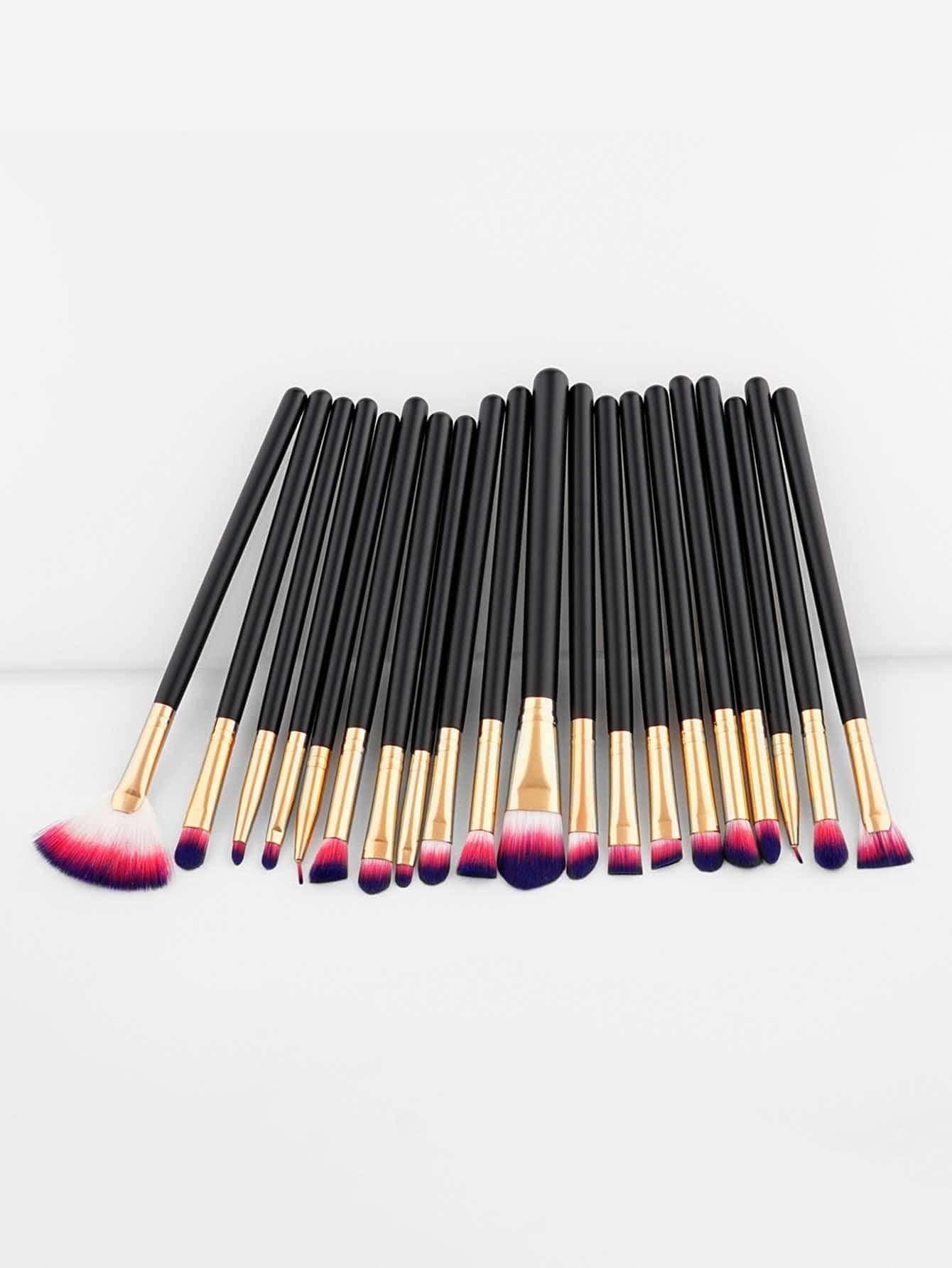 Color Block Bristle Makeup Brush 20pcs ombre bristle makeup brush 12pcs
