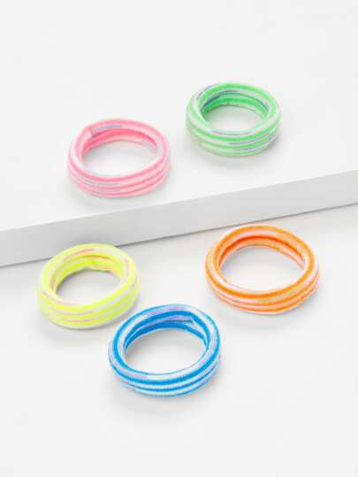 Striped Design Hair Tie 5Pcs