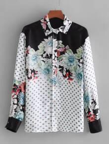 Watercolor Flower Print Shirt