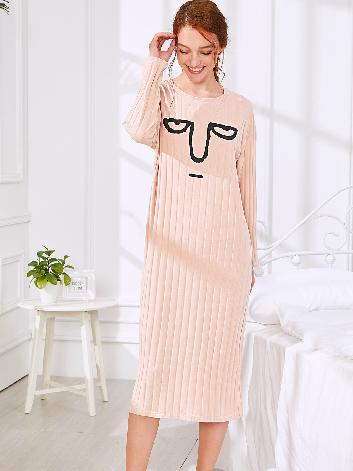 Funny Printed Ribbed Dress night180313334