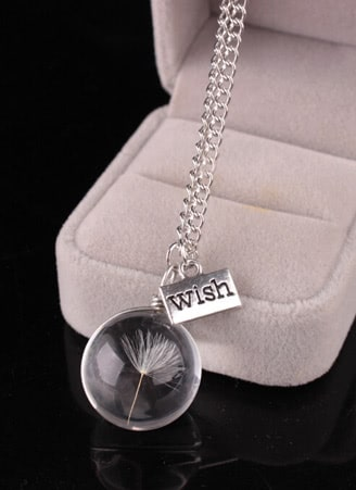 Clear Ball Shaped Pendant Chain Necklace