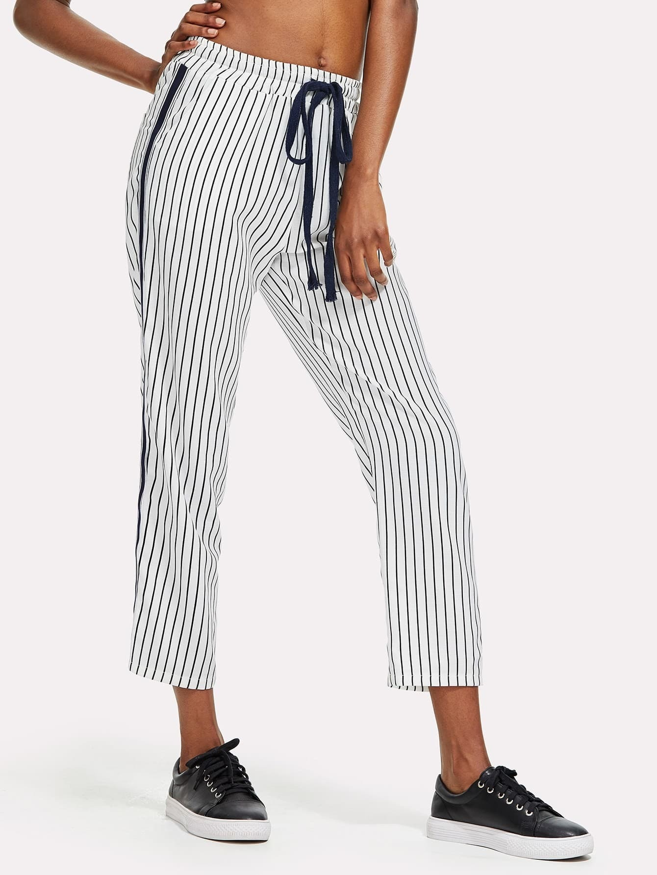 Tape Side Vertical Striped Pants striped tape side cuffed pants