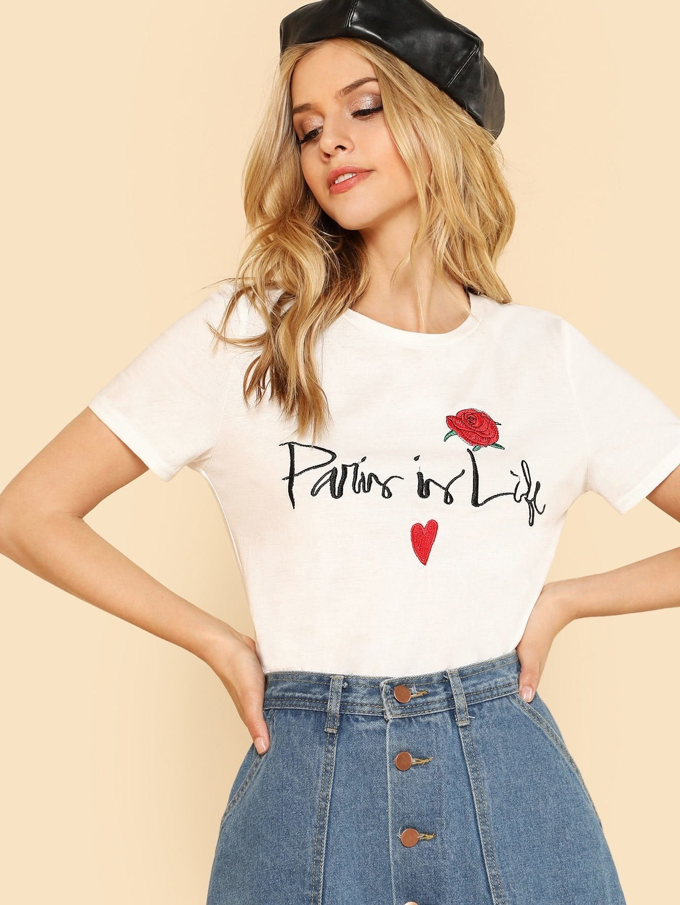 Letter And Flower Embroidered Tee letter fish embroidered tee