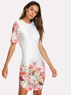 Floral Print Form Fitted Dress