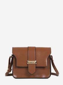 Buckle Design Flap PU Shoulder Bag