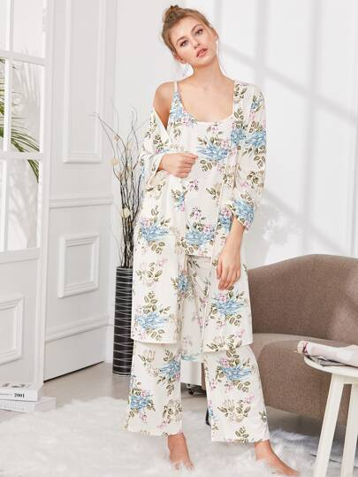 Floral Print Cami Pajama Set With Robe