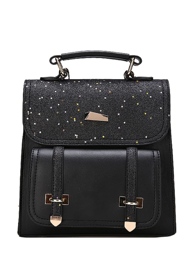 Double Buckle Glitter Backpack double buckle glitter backpack