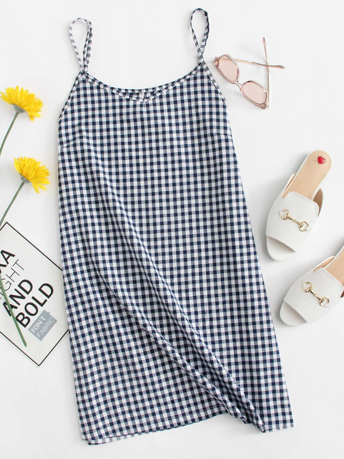 Checked Cami Dress by Romwe