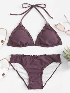 Frill Trim Triangle Halter Top Bikini Set