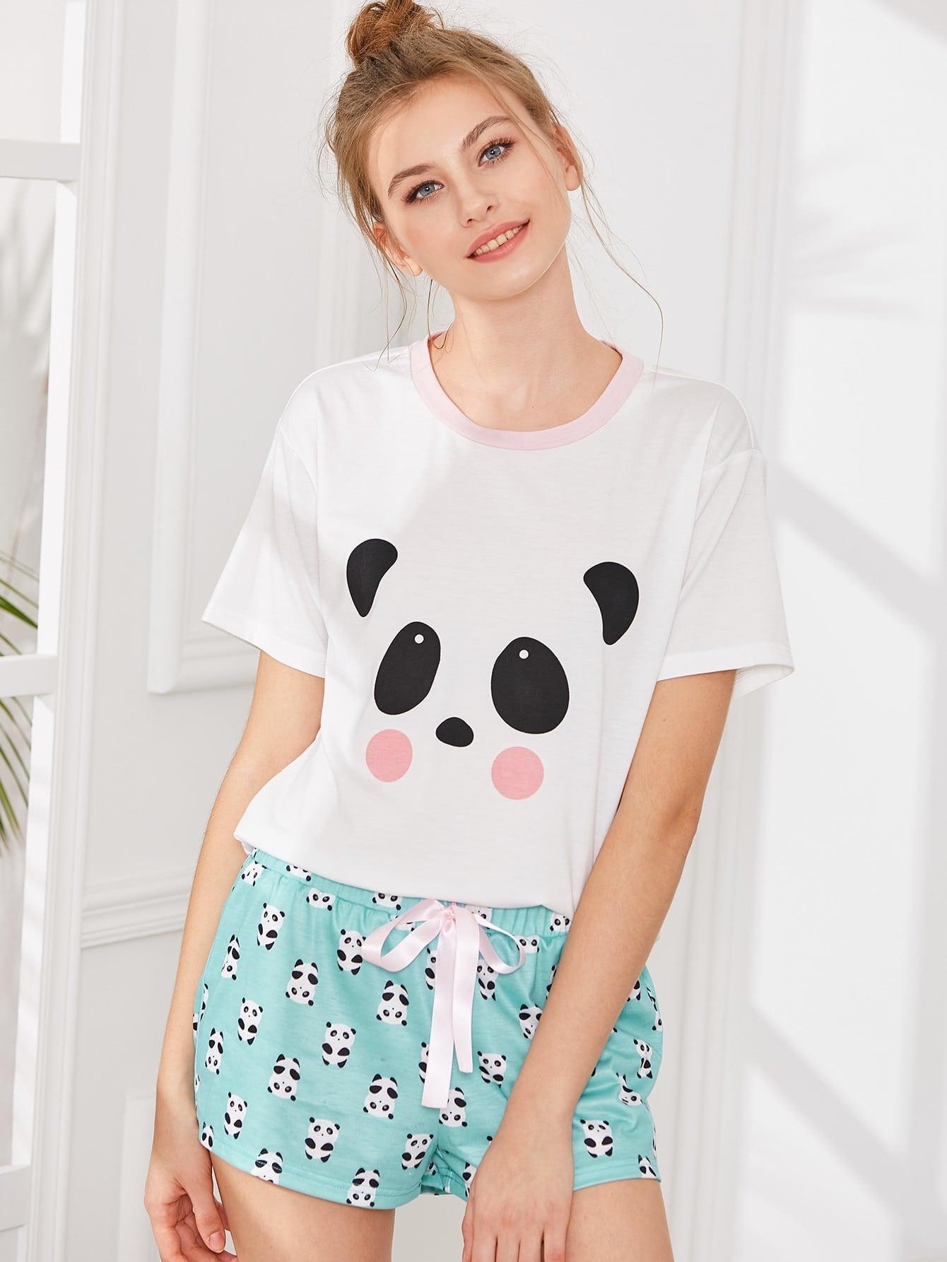 Panda Print Top And Shorts PJ Set rolled up sleeve top and leopard print shorts pj set