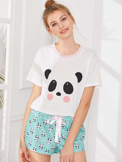 Panda Print Top And Shorts PJ Set