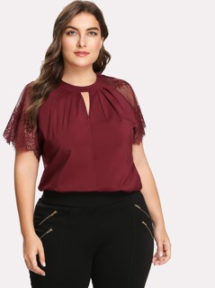 Plus Keyhole Pleated Neck Lace Panel Top