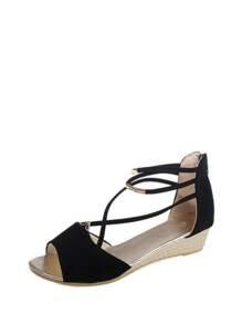 Cross Strap Back Zipper Sandals
