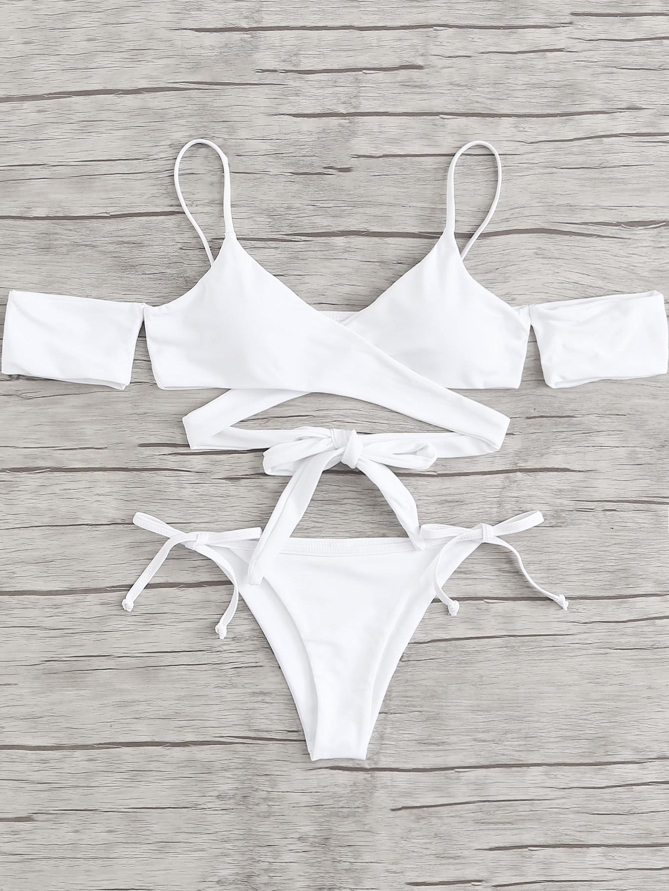 Crisscross Knot Solid Bikini Set knot back solid bikini set