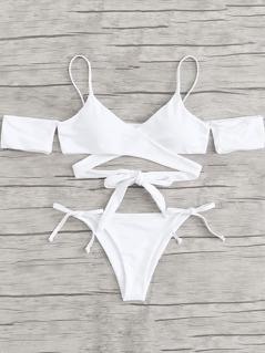 Crisscross Knot Solid Bikini Set