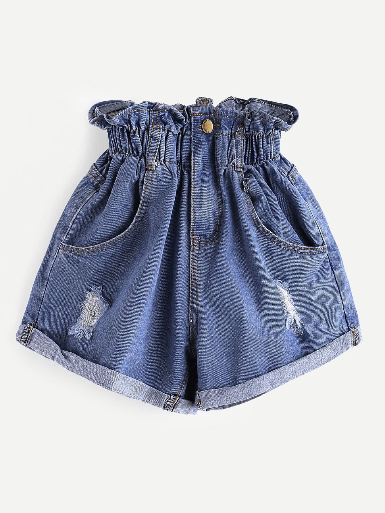 Elastic Waist Ripped Denim Shorts sweet elastic waist cartoon doll embellish ripped denim shorts for girls