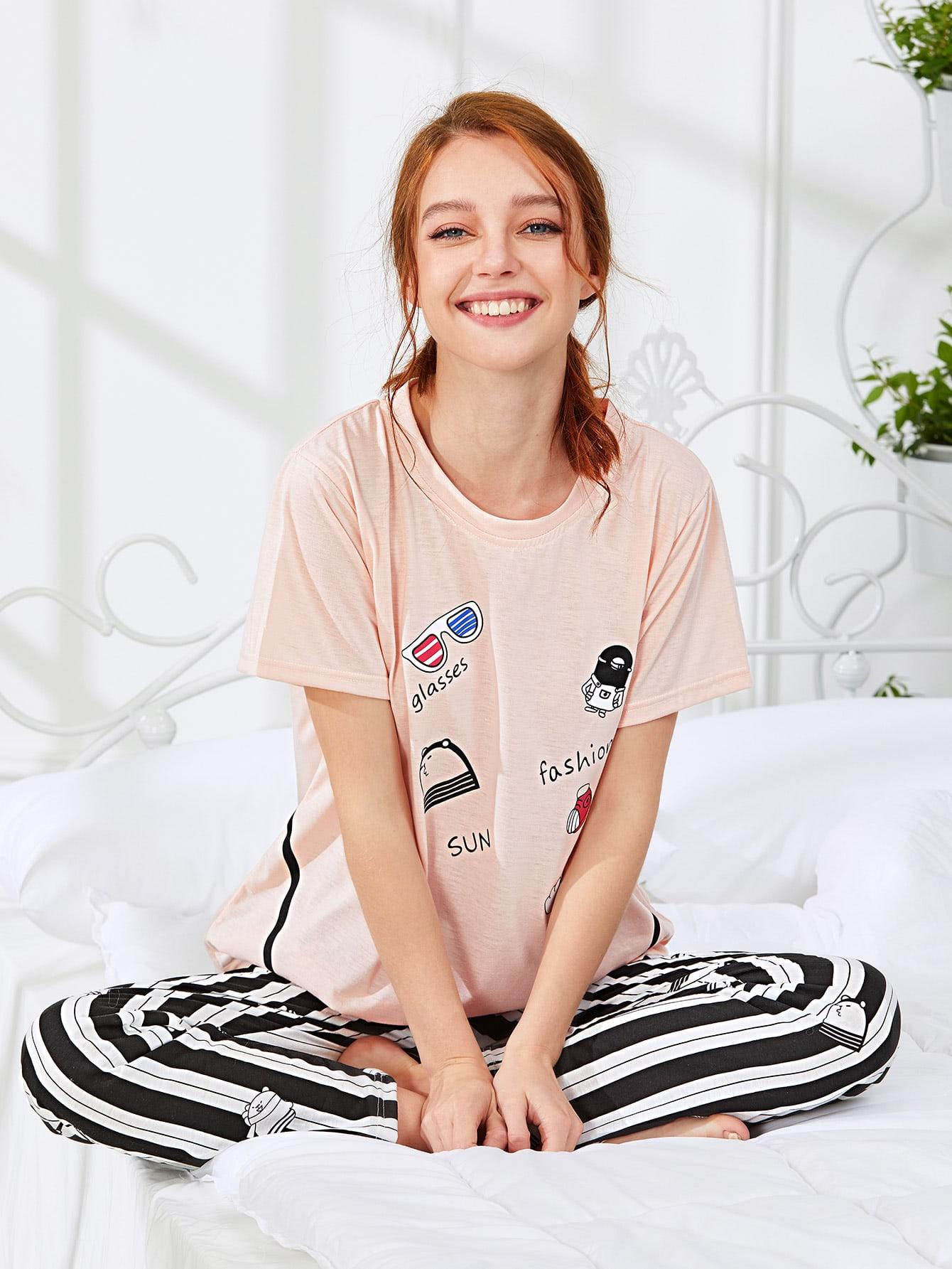 Cartoon Print Tee & Striped Pants PJ Set exmork 100 вт 12 в poly si