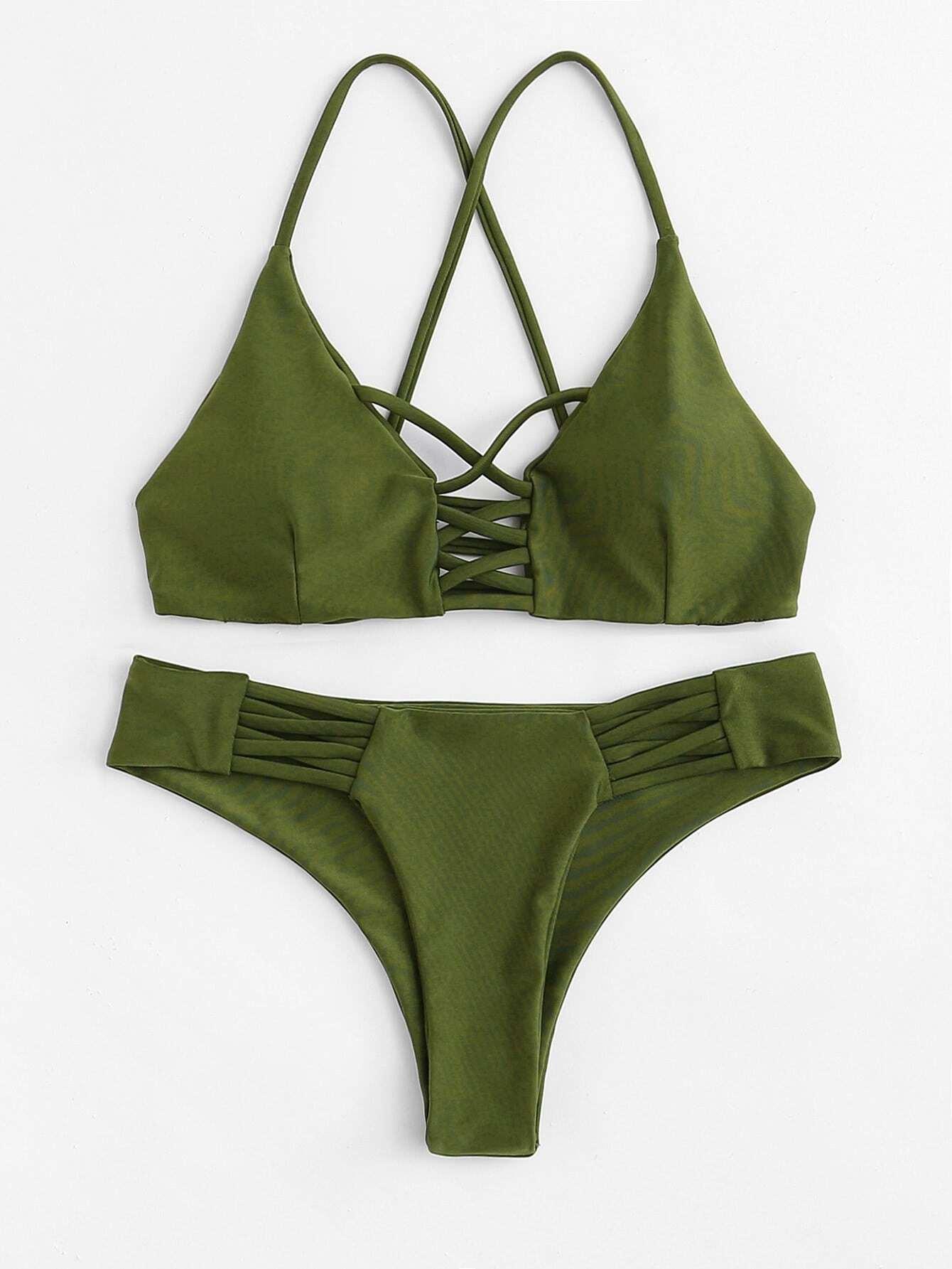 Criss Cross Caged Bikini Set criss cross ruffle bikini set