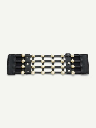 Hollow Design Belt With Faux Pearl