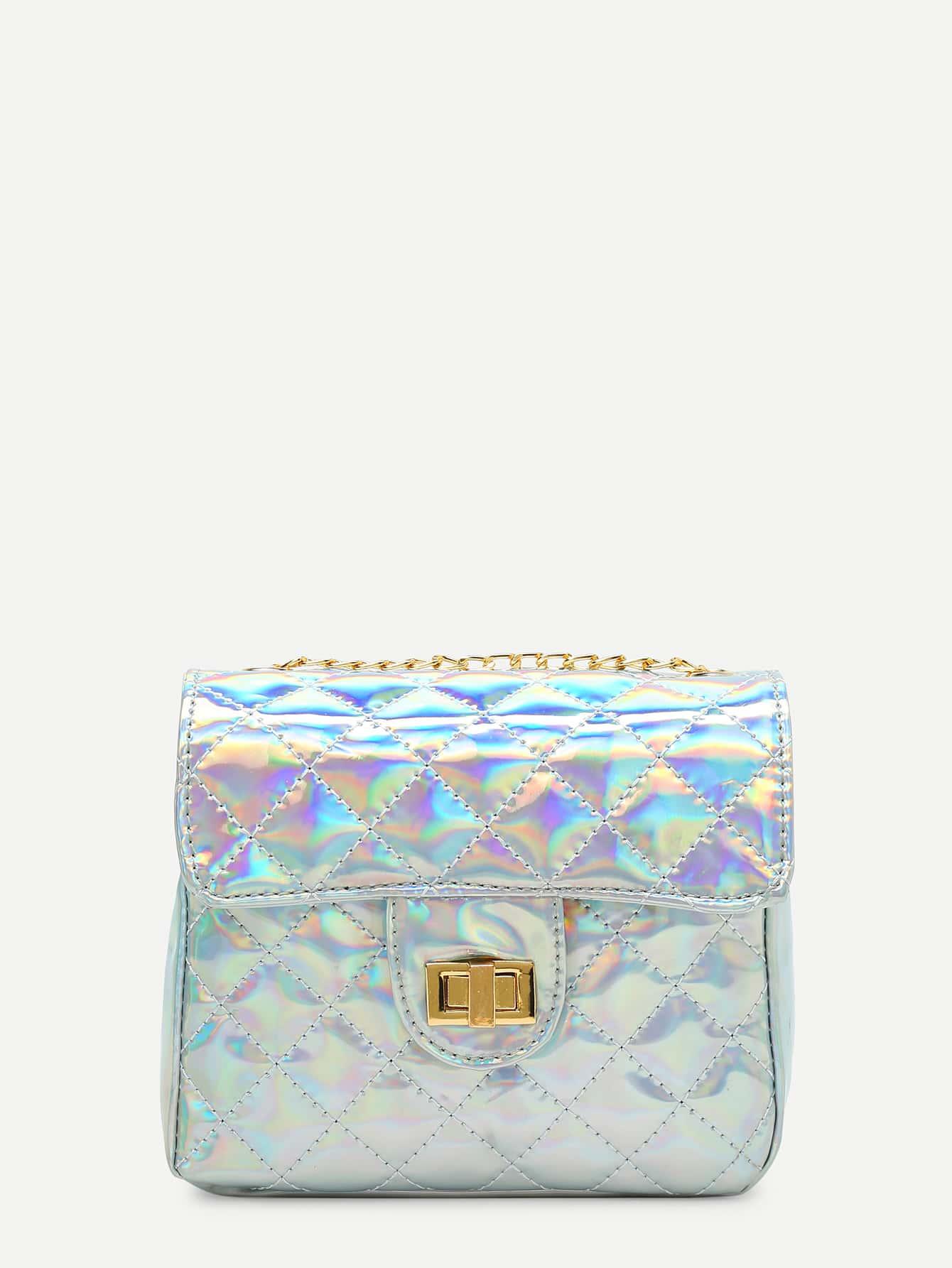 Iridescent Twist Lock PU Crossbody Bag iridescent pu wallet