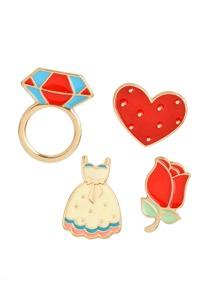 Heart & Flower Design Brooch Set
