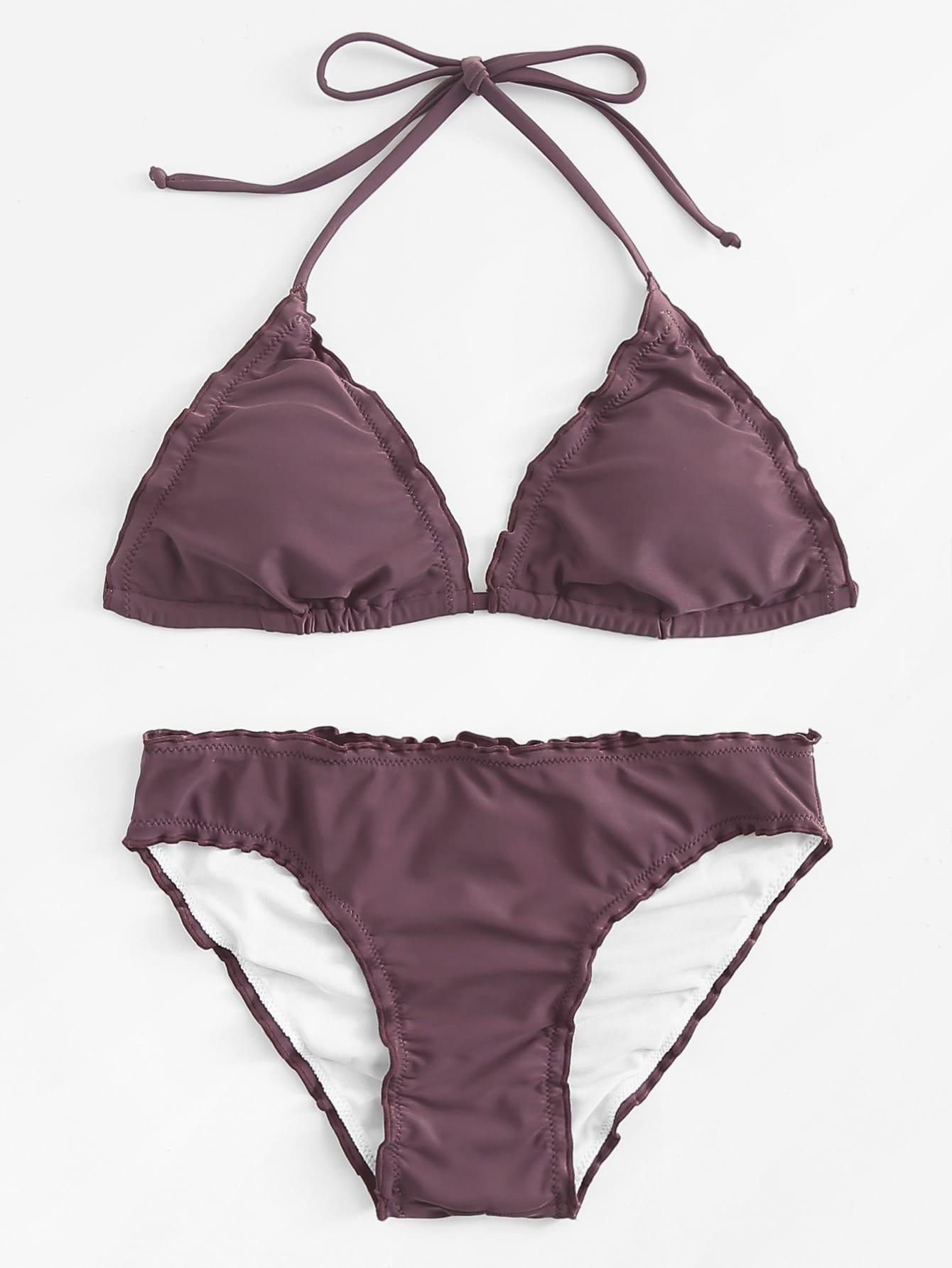 Frill Trim Solid Bikini Set frill trim triangle bikini set