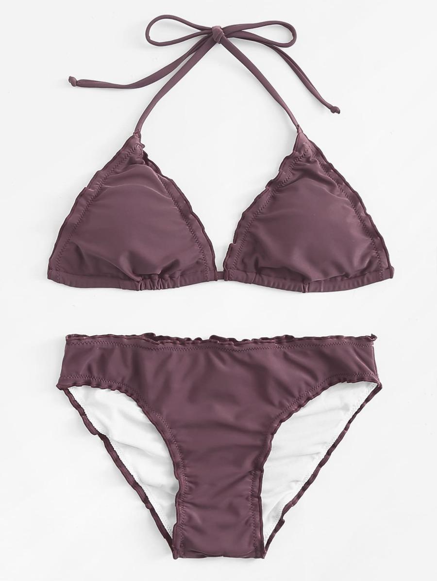 Frill Trim Solid Bikini Set by Shein