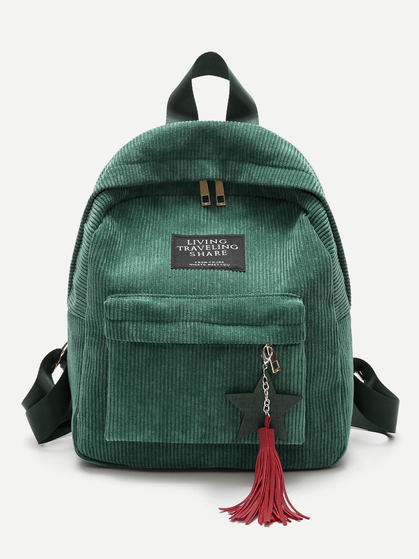 Tassel Decor Corduroy Backpack