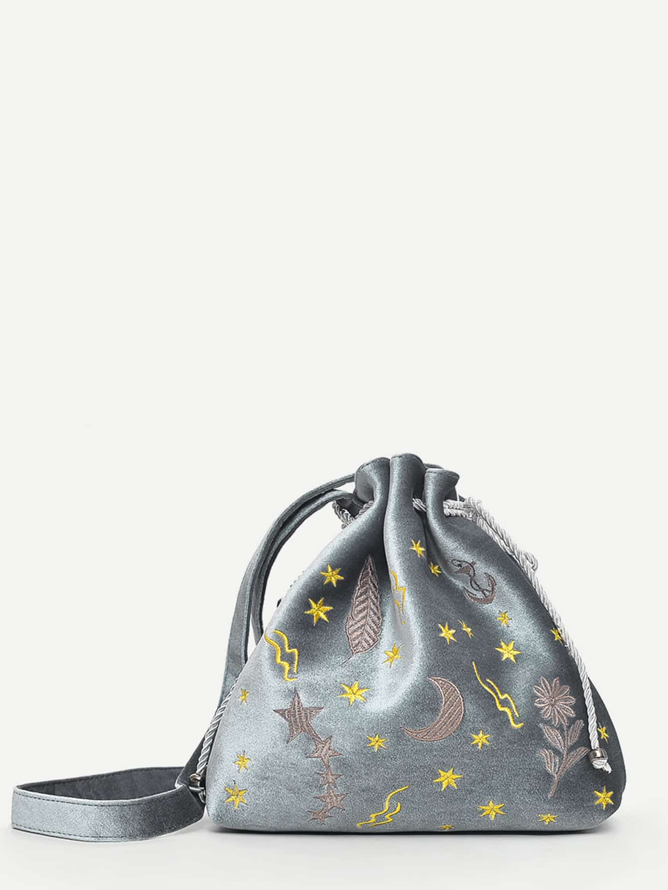 Embroidered Detail Drawstring Bucket Bag