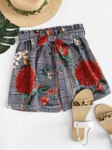 Self Tie Waist Floral Print Shorts